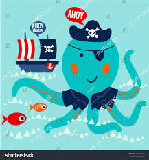cute octopus swimming red fishes pirate stock vector 334239155