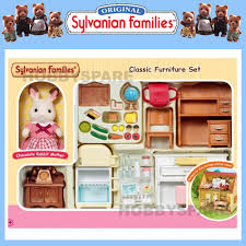 sylvanian families classic furniture set with rabbit mother ready