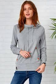 cupshe easy way in grey hooded sweatshirt