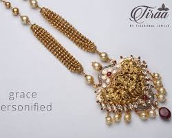 gold balls chain with lakshmi pendant jewellery designs