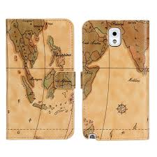 Map Note For Etui Samsung Galaxy Note 3 Case Cover Leather Wallet World Map