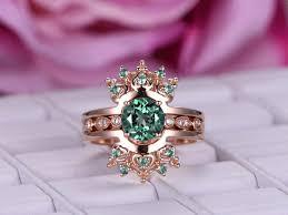 color wedding rings images 3pc color alexandrite wedding ring set engagement ring 14k rose jpg