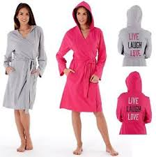 women u0027s live laugh love hooded robe jersey dressing gown ln664