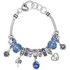 beads charm bracelet images Blue zircon december birthstone charm bracelet murano beads jpg