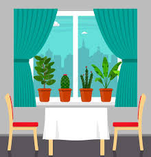 window table for plants big window with curtain and plants in pots on the windowsill table