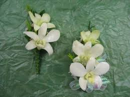 g8 white dendrobium orchid for him and her corsages and