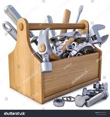 wooden toolbox tools isolated on white stock illustration