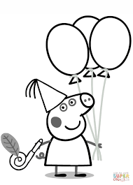 peppa pig with ballons coloring page free printable coloring pages