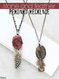 make stone pendant necklace images Diy feather necklace with stone pendant darice jpg