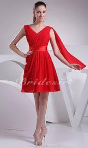 a linie v ausschnitt kurz mini satin brautjungfernkleid mit gefaltet p602 bridesire rot brautjungfernkleider rot
