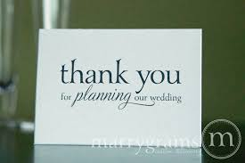 our wedding planner thank you for planning our wedding card serif style