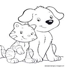 and cat coloring pages