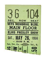 ticket stub album lot detail may 26 1956 columbus oh elvis concert