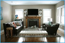 narrow living room layout with fireplace and tv on with hd