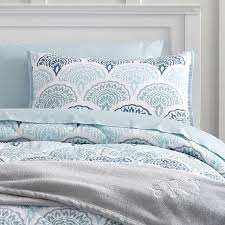 Peacock Feather Comforter Set Colorful Blue Skull With Flower And Feather Crown Duvet Bedding