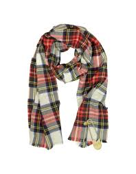 moschino white red and green tartan wool long scarf with oversized