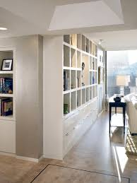 long low bookcase hall contemporary with console table table lamp