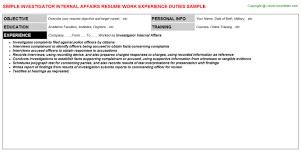 Internal Resume Investigator Internal Affairs Resume Sample