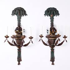 pair of antique carved wood palm tree wall sconces