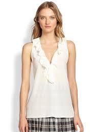 sleeveless ruffle blouse lyst joie rissa silk sleeveless ruffled blouse in