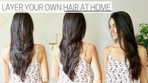 how i cut u0026 layer my hair at home diy long layers haircut youtube