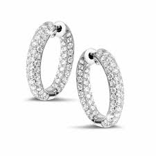 white gold diamond earrings white gold diamond earrings 2 15 carat diamond creole baunat
