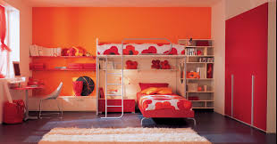 Bedroom Wall Closet Designs Stunning Modern Orange Kids Bedroom Design Ideas With Cool Loft
