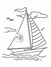 Sailing Boat Coloring Kids Transportation Coloring Pages