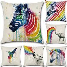 Rainbow Home Decor by Marine Animal Cotton Linen Pillow Case Sofa Car Throw Cushion
