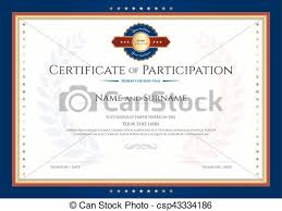 vector of certificate of participation template with laurel