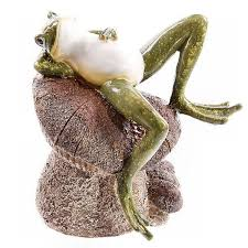 set of two frogs laying on mushrooms resin frog garden ornaments