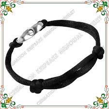 cremation bracelet cmb5020 black rope cremation bracelet with shiny stainless steel