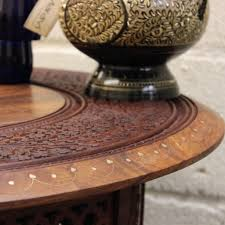 maravi large round wooden coffee table hand carved sheesham with brass