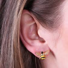 stud ear gold and enamel bumblebee stud earrings angel