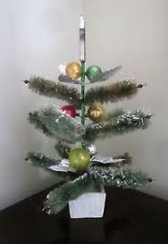 vintage bottle brush christmas tree w foil leaves glass ornaments