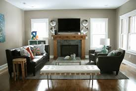 how to arrange furniture in a narrow living room with fireplace