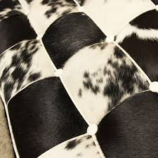 Cowhide Chairs And Ottomans Barcelona Chair Cowhide With Ottoman Black White Popfurniture