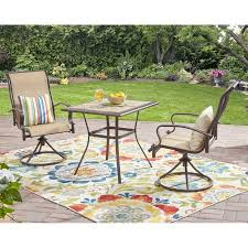 High Bistro Table Set Outdoor Mainstays Wesley Creek 3 Bistro Set With Swivel Chairs