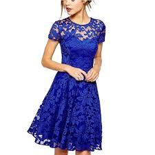 женщины цветочные кружева платья партии с коротким рукавом