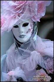 in pink ornamental venice carnival costume italy photo by