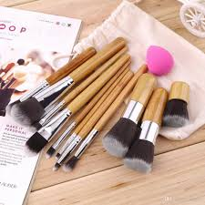 1lot cosmetic brush set bamboo handle synthetic makeup brush kits