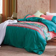 Tribal Print Bedding Teal Blue And Coral Red Stripe And Tribal Print 100 Cotton Full