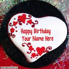 write name on heart shaped birthday cake happy birthday cake