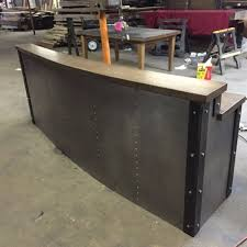 Industrial Looking Desk by Hand Crafted Restaurant Business Sleek Metal Front Desk Reception
