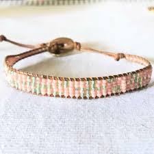 woven bracelet with beads images Handmade blush pink and sage cactus print bead loom woven bracelet jpeg