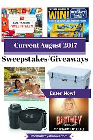 current august 2017 sweepstakes giveaways enter to win sponsors