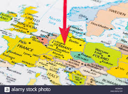 Map Of Munich Germany by Red Arrow Pointing Germany On The Map Of Europe Continent Stock