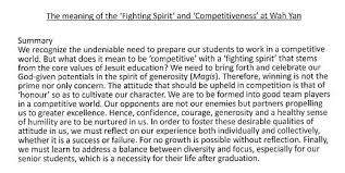 the meaning of fighting spirit and competitiveness at wah yan