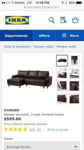 brand new sleeper sofa with chaise ikea djursbo brown faux