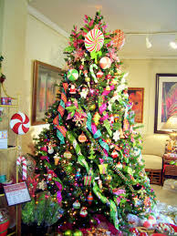 Decorate Christmas Tree With Ribbon Garland by Lighted Acrylic Pine Tree Decor With Red Mesh Ribbon And Candy
